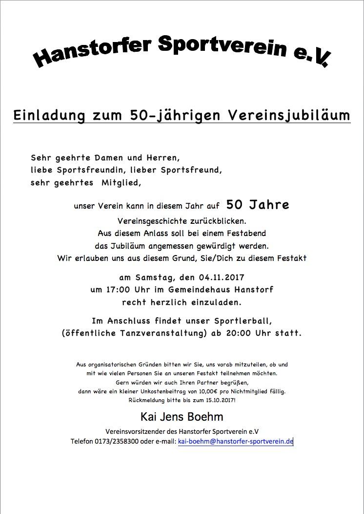 Einladung Zum 50 Jahrigen Vereinsjubilaum Hanstorfer Sportverein